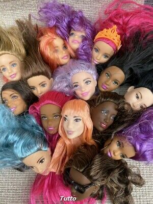 6pcs//lot Mattel Barbie Doll Multi Colored Hair Styling Makeup Head Gift