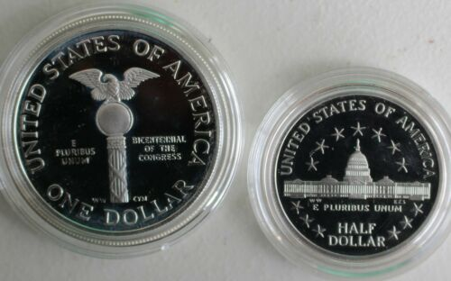 1989 CONGRESSIONAL Two Coin SILVER Dollar Clad Half Proof 2-Coin Congress Set