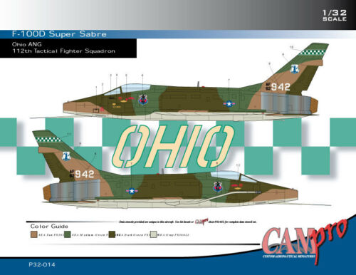 F-100D SUPER SABRE 1//32 SCALE CAM PRO DECAL P32-014 OHIO ANG
