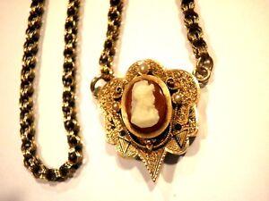 Antique-Victorian-14k-Rose-Gold-Cameo-Pendant-Necklace-Tassel-Black-Enamel-18-034