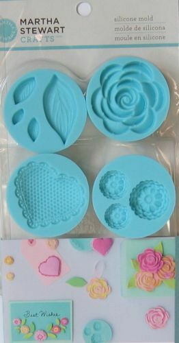 Martha Stewart CRAFTERS Air Dry Clay ROMANTIC Silicon Mold 43-00028 Roses Leaves
