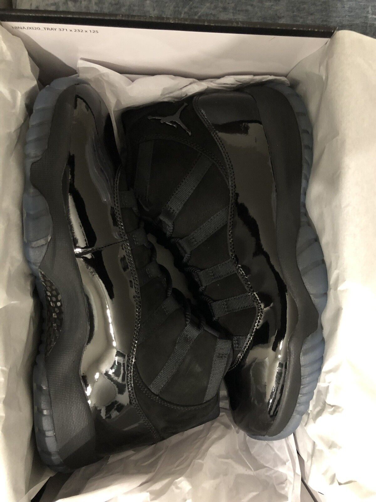 Nike Air Jordan 11 Retro XI Size 11 Black Black Black 378037 005 Cap and Gown