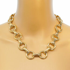 NEU-Statement-Kette-Halskette-blogger-Collier-Choker-Glieder-Vintage-Panzer-gold