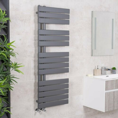 Designer Bathroom Heated Heater Towel Rail Radiator Ladder 1380x500mm Sand Grey