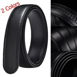 10 Size 2 Colors Men's Leather Automatic Ribbon Waist Strap Belt Without Buckle