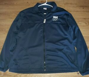Vintage-USA-Olympic-committee-Mens-Blue-Zip-Up-Jacket-size-XL-EUC
