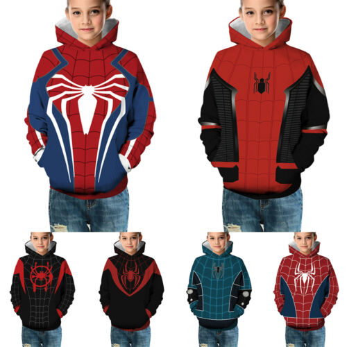 Kinder Jungen Spiderman Hoodie Sweatshirt Pulli Langarm Kapuzenpullover Sweater