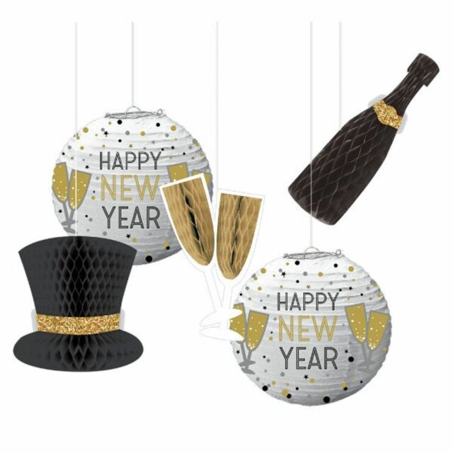 New Years Eve Honeycomb Hanging Decorations 5 Pc for sale ...