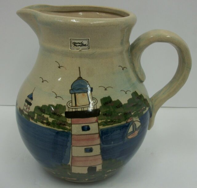 Vintage Hand Painted Art Pottery Pitcher Lighthouse Nautial Scene WCL