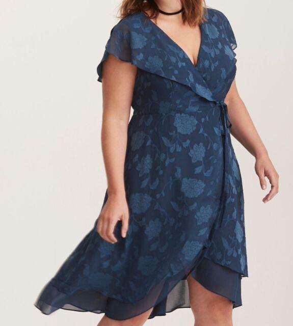 6b35164b747 Torrid Teal Floral Print Textured Chiffon Wrap Midi Dress 1X 14 16  24359