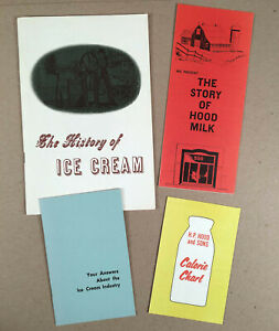 1963-HISTORY-OF-ICE-CREAM-Booklet-Plus-Three-H-P-HOOD-Dairy-Product-Ephemera