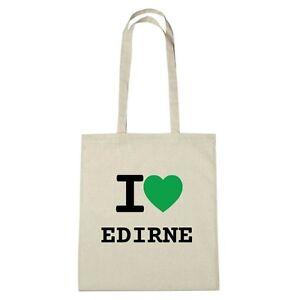 Umwelttasche - I love EDIRNE - Jutebeutel Ökotasche - Farbe: natur