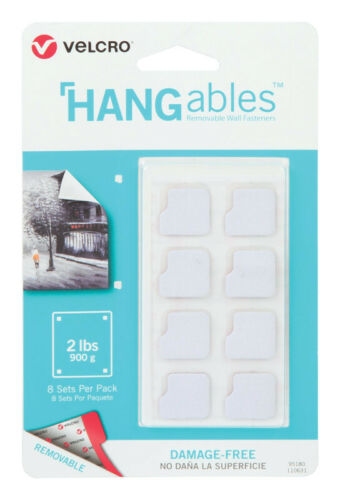 L x 3//4 in Velcro  HANGables  Removable Fasteners  3//4 in W White  8 pk