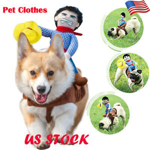 Puppy Pet Dog Halloween Cowboy Funny Cute Soft Costume Riders Clothes S-XL