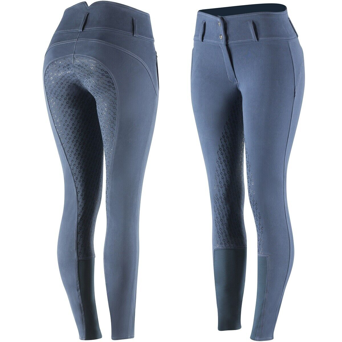 Horze Mujer Damas Azul Asiento Completo De Silicona Inglés Equitación Pantalones de montar Estados Unidos 26