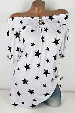 40 42  Süßes Tunika Shirt mit Carmen-Ausschnitt Gesmokt Sterne Weiß