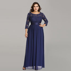 Ever-Pretty Plus Size Bridesmaid Dress 3/4 Sleeve Long Lace Party ...
