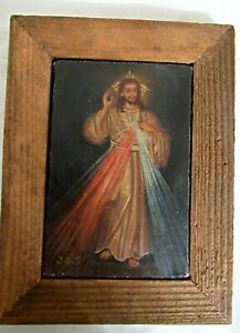 VTG ANTIQUE CUZCO PERU SMALL RELIGIOUS OIL ON CANVAS PAINTING JESUS SACRED HEART