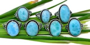 10 Pcs Natural Stone Larimar Oval 925 Sterling Solid Silver Jewelry Ring SR-1