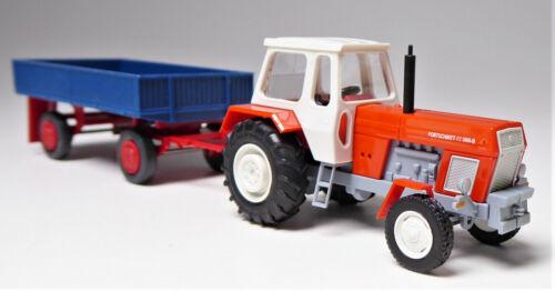 H0 BUSCH Traktor Fortschritt ZT 300-D rot weiß + Hänger Pritsche E 5 blau rot