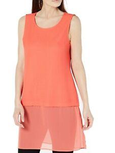 Alfani-Womens-Top-Orange-Size-XL-Chiffon-Trim-Scoop-Neck-Tunic-Knit-59-437