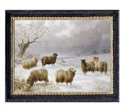 Winter Sheep Miniature Dollhouse Picture