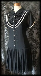 Gothic-Black-Cream-Peter-Pan-RAPTURE-Velvet-Bib-Tea-Dress-6-8-Victorian-Lolita
