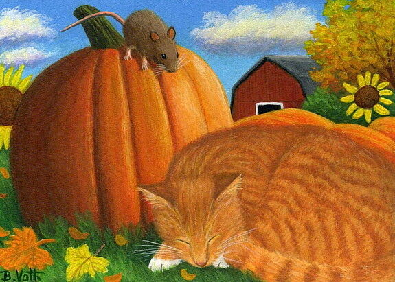 Orange tabby cat mouse pumpkin patch fall limited edition aceo print art