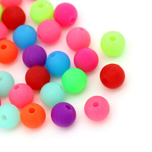 500-Mix-Matt-Acryl-Spacer-Kugeln-Perlen-Beads-Mehrfarbig-6mm
