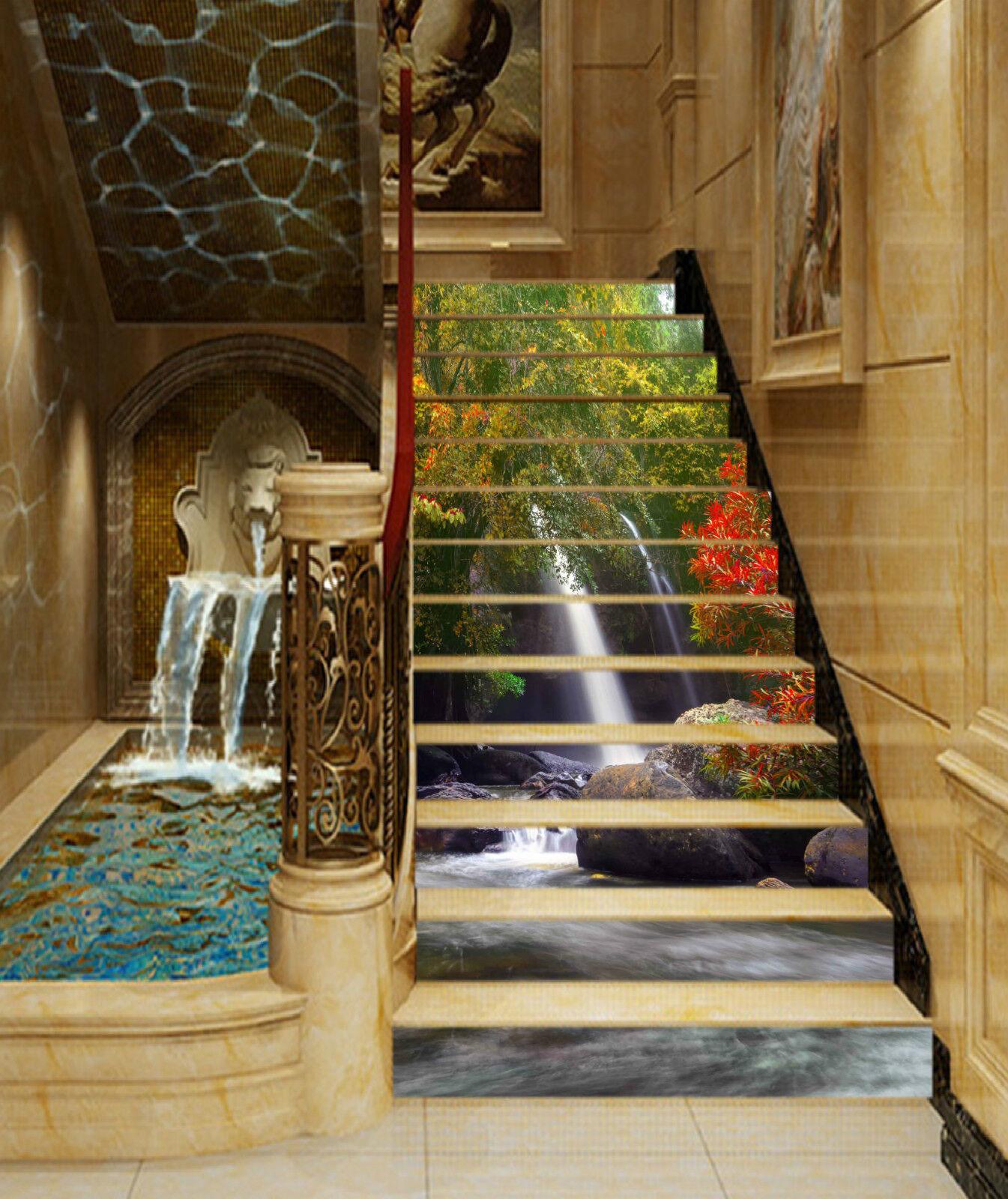 3D Wald Holz 231 Stair Risers Dekoration Fototapete Vinyl Aufkleber Tapete DE