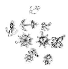 10pcs Antique Nautical Helm Anchor Shapes Charms Pendant DIY Craft Silver