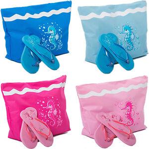 7bacbd6af90e84 Womens Beach Bag + Flip Flops Set Large Tote Summer Bag Ladies ...