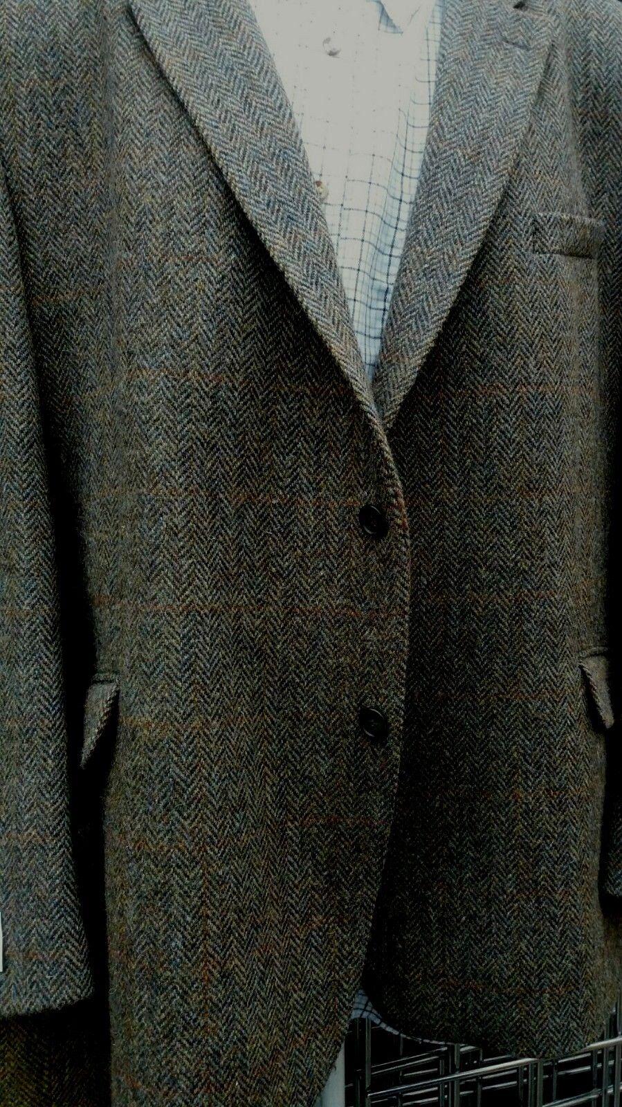 size Grande Hugo James Harris Tweed Oscuro Pino Chaqueta 127cm52 54cm 56cm 58cm