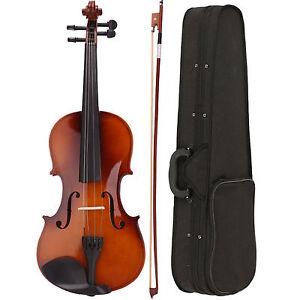 Wood-Acoustic-Adult-Full-Size-4-4-Violin-Bow-Rosin-Carry-Case-Shoulder-Rest-Set