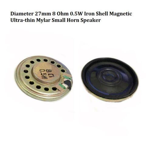 Diameter 27mm 8 Ohm 0.5W Iron Shell Magnetic Ultra-thin Mylar Small Horn Speaker