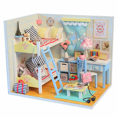 New Dollhouse Miniature DIY Kit with Cover and LED Wood Toy Dolls House Room 12
