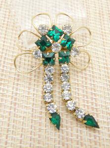 Green-Clear-Rhinestone-Gold-Tone-Dangle-Flower-Pin-Brooch-Pendant-Vintage