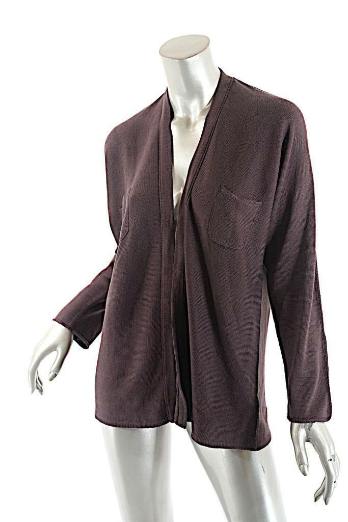 CIVIDINI Raisin 100% Silk Softest Knit Cardigan Sweater w Chest Pocket  46 US 10