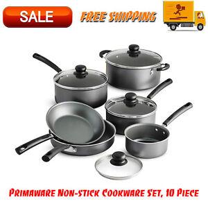 Primaware-10-Piece-Non-stick-Cookware-Set-Kitchen-Home-Pots-amp-Pans-Set-Gray