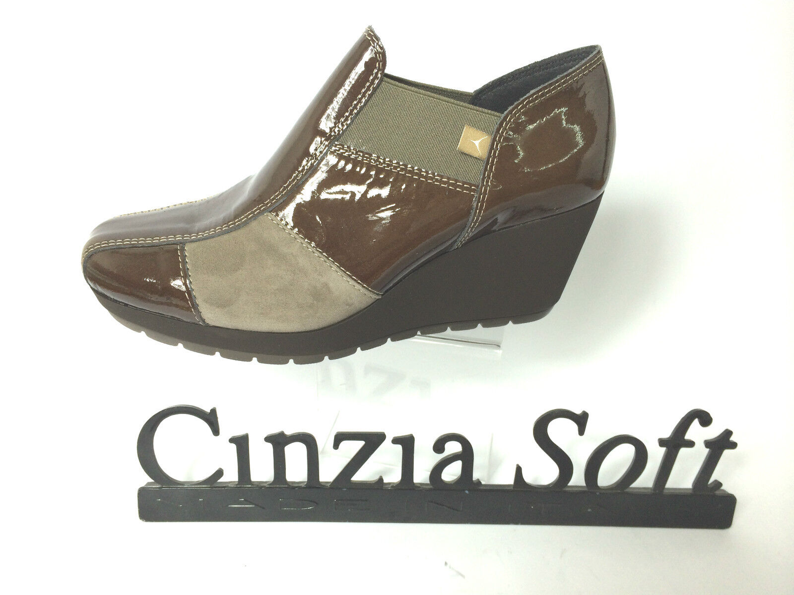 CINZIA SOFT SCARPA Damens STIVALETTO TAUPE ZEPPA H 6 CM MADE IN ITALY