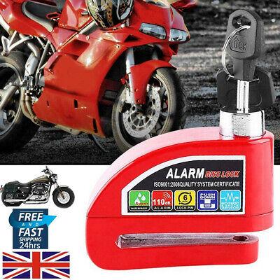 Scooter Bicycle Bike Anti Theft Padlock Alarm Brake Disc Lock+2 Key Chic