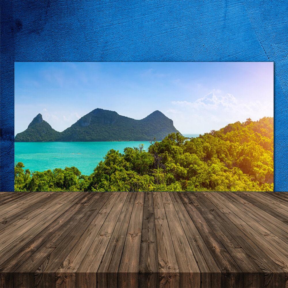 Crédence de cuisine en verre Panneau 120x60 Paysage Montagnes Arbres Mer