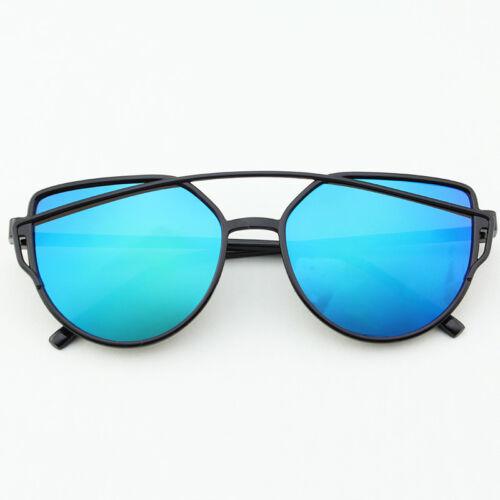 Damen Unisex Retro Metall Rahmen Mirrored Sunglasses Sonnenbrillen Cat Eyewear