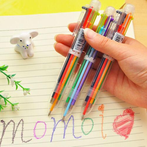 6 in 1 Farbe Kugelschreiber Mehrfarbige Kugelschreiber für Schule Bürobedarf SAB