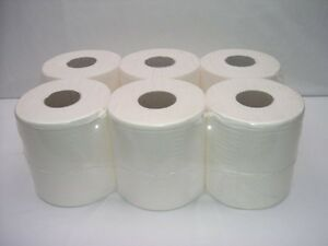 12 PACK 2 PLY WHITE EMBOSSED CENTRE FEED PAPER WIPE ROLLS TISSUE
