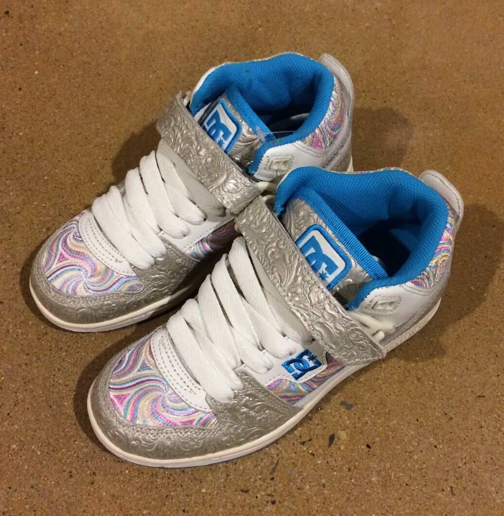DC Schuhes Jersey City Woman's Größe 5 Silver WEISS Candy Swirl Skate Schuhes 75