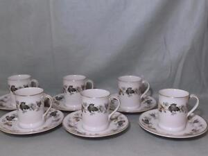 6-Royal-Doulton-Larchmont-Bone-China-Coffee-Cans-amp-Saucers-TC-1019-Lot-B