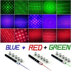 3Pc 6in1 Effect Red+Green+Blue/Violet Laser Pointer Pen 5mw Beam+5Pc Star Caps00