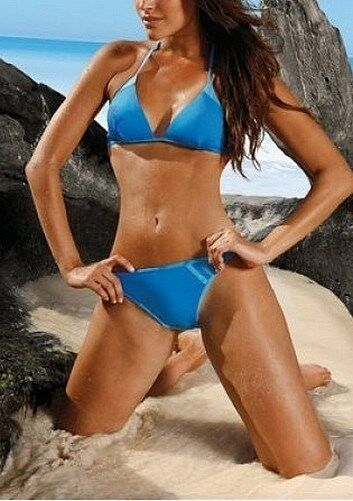 2tlg. Adidas Triangle Bikini Neuf Bleu Taille 34,36 Femmes Rétro-style
