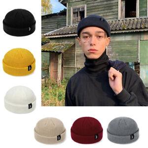 Homme-Femme-Bonnet-Tricote-Ski-Hip-Hop-Unicolore-Couleur-Chaud-Hiver-Unisexe